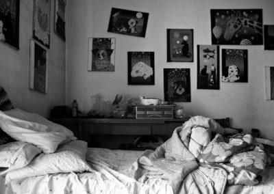 La stanza da letto e da lavoro di Ivano.